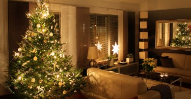 Christmas tree in modern home apartment living room